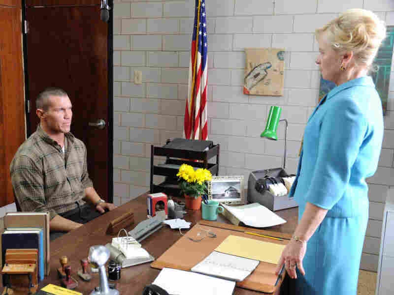 Away from the ring, Randy Orton (left) plays a much more subdued role in That's What I Am, which was written and directed by Michael Pavone, executive vice president of WWE Studios. The film also features Amy Madigan (right) and Ed Harris.