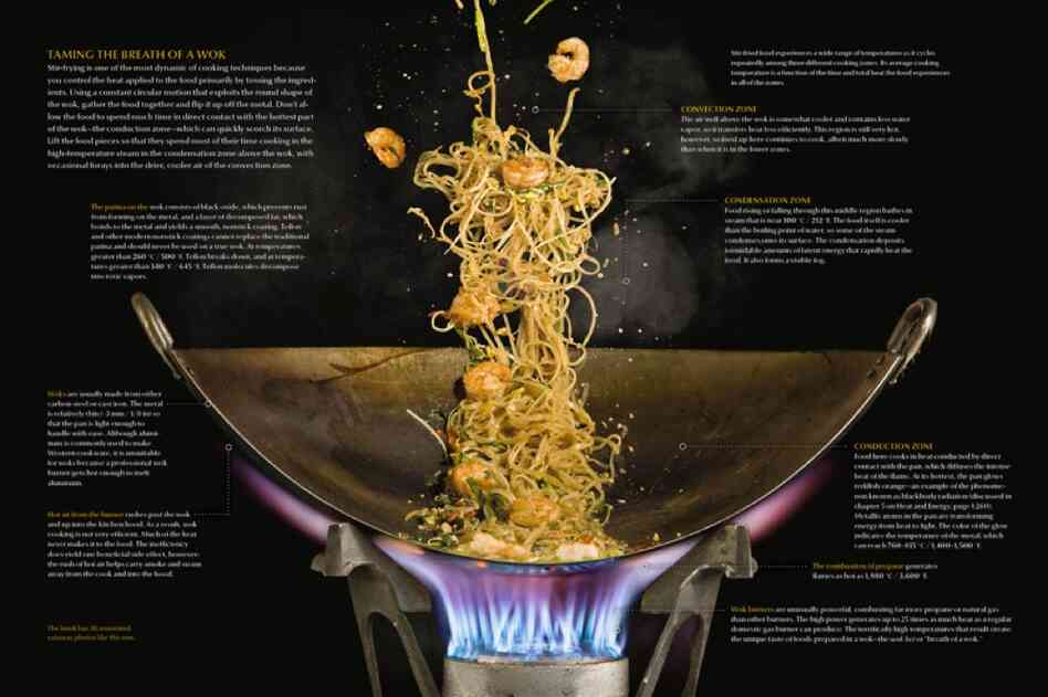 There are 36 annotated cutaways in the book. This diagram explains in detail how stir fry cooks — a combination of being tossed in the air and using high heat from below.