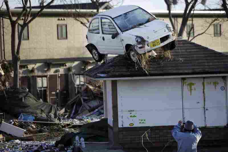A car sits on a roof in Sendai.