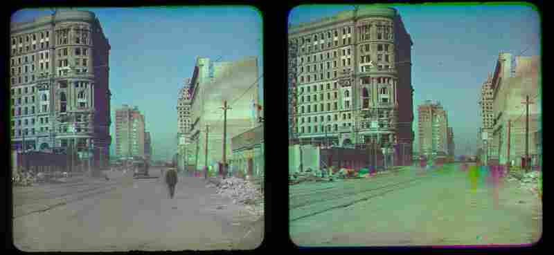 This stereo view includes an added layer on the left, showing part of the original black-and-white separation with the image of a man walking and a trolley car. On the right you can see the effect of movement in this color process registering as color streaks.