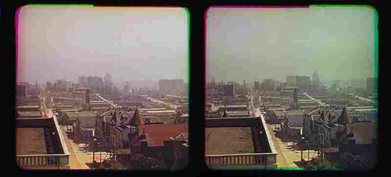 The images are credited to pioneering photographer Frederick Eugene Ives. This image, showing the dome of City Hall in the far distance, was taken on the roof of the Hotel Majestic.