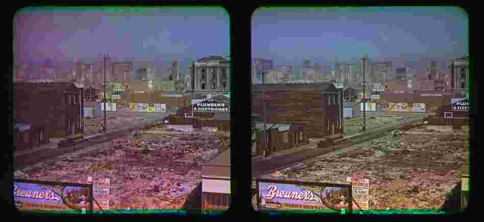 These stereo photographs, called Kromograms, show the earthquake-damaged San Francisco of 1906. They are thought to be the first color photographs from one of the worst natural disasters in U.S. history.