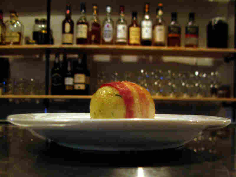 One of Ilan Hall's bacon-wrapped matzo balls.