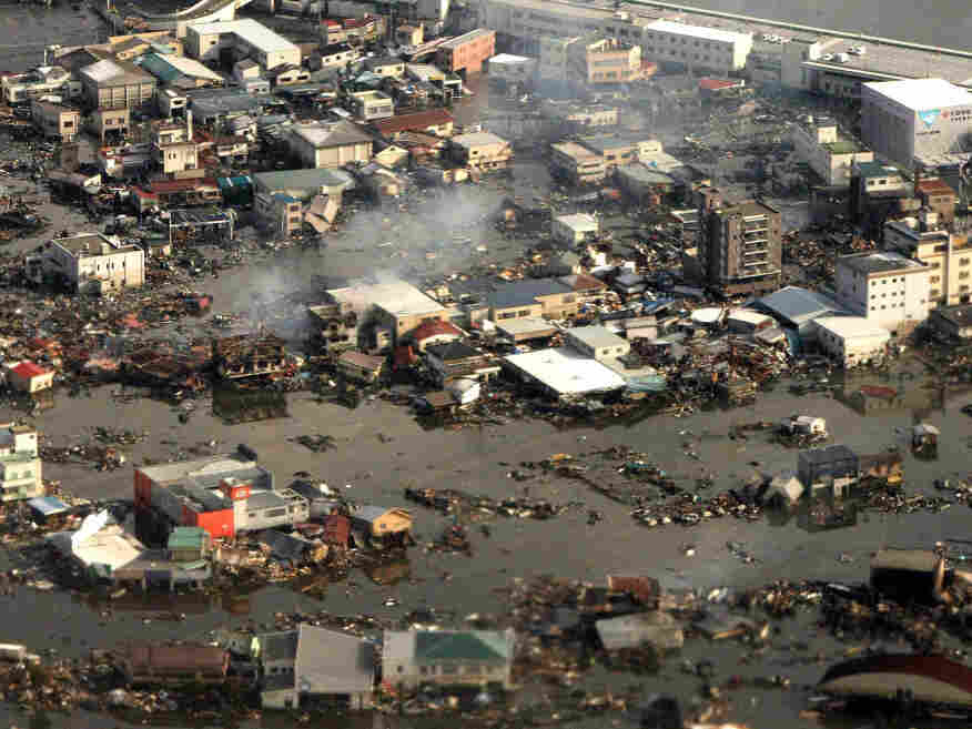 An aerial view shows the devastated Kesennuma city in Miyagi prefecture earlier today (March 12, 2011).