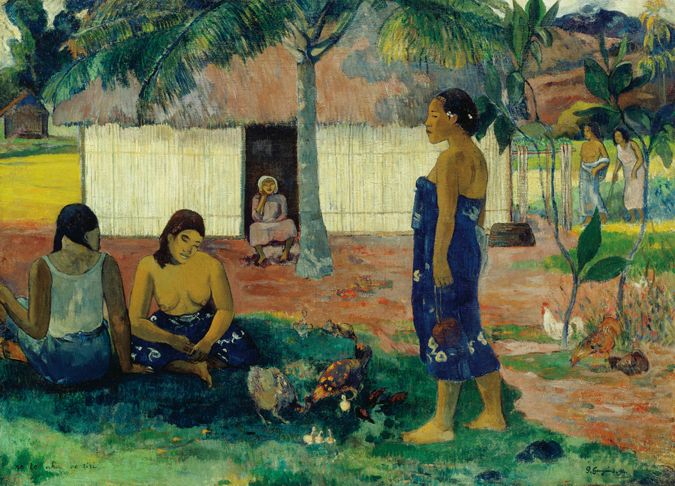 Gauguin often titled his works in Tahitian — or broken Tahitian. He gave one painting from 1896 the mysterious title No te aha oe riri, or Why Are You Angry? (The Art Institute of Chicago)