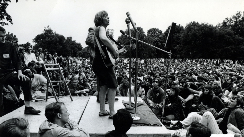 Barbara Dane performs at the Newport Folk Festival in the mid-1960s.