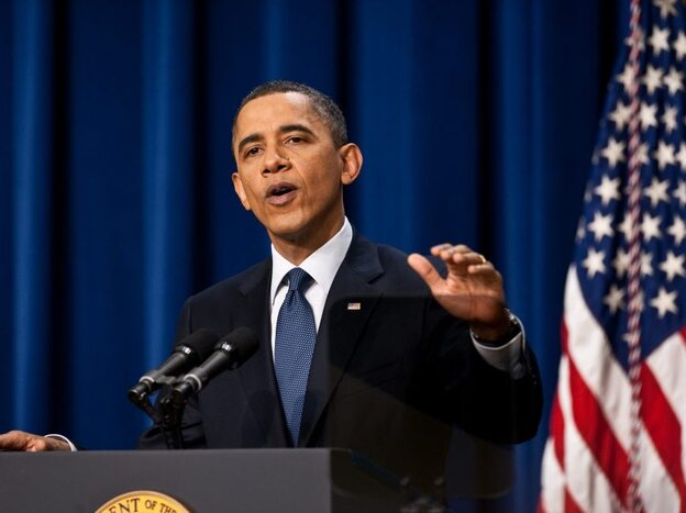 President Obama at a White House news conference, on March 11, 2011.