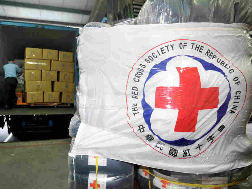In New Taipei City, Taiwan, relief goods were ready Sunday to be shipped to Japan.