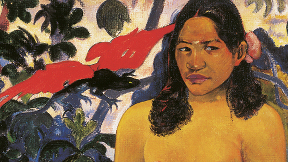Gauguin depicts a Tahitian Garden of Eden in his 1892 painting Te Nave Nave Fenua, or, The Delightful Land. Gauguin paints a strong, stocky Eve — who, if you look carefully, has seven toes on her left foot. (Ohara Museum of Art, Okayama)