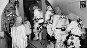 Technicians at the Three Mile Island plant enter the outer airlock door leading into the containment building housing the disabled nuclear reactor at the Three Mile Island nuclear plan in February 1982. The accident at the Harrisburg, Pa., plant began on March 28, 1979.