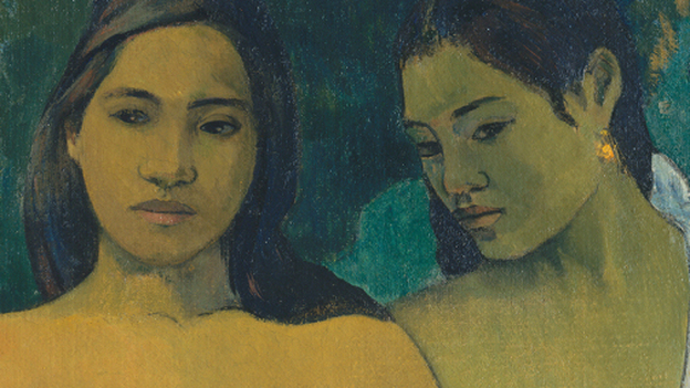 """By the time Gauguin arrived in the late 1800s, Tahiti had been """"thoroughly Christianized and colonized"""" by the French, says National Gallery curator Mary Morton. Women didn't walk around half-nude — but Gauguin painted them that way anyway. Above, an 1899 depiction of Two Tahitian Women. (The Metropolitan Museum of Art)"""
