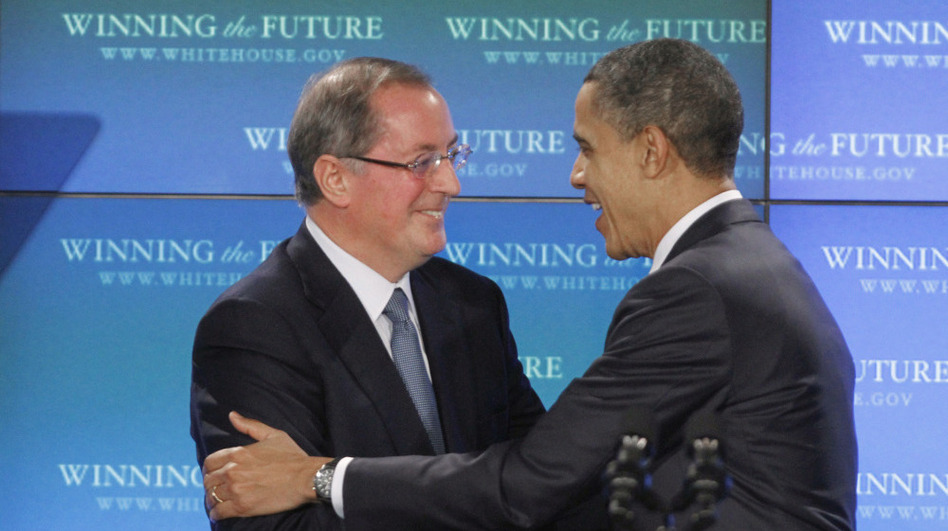 President Obama is greeted by Intel CEO Paul Otellini after touring an Intel facility in Hillsboro, Ore., in February.