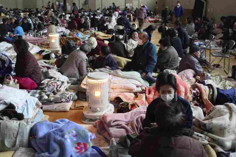 Evacuees rest at a shelter in Yamada, Iwate prefecture, in northern Japan on Tuesday.