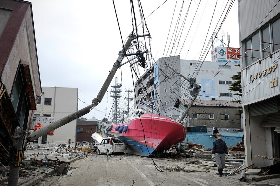 A boat lies in a street in Hishonomaki, Miyagi prefecture, washed inland by the recent tsunami.  (AFP/Getty Images)