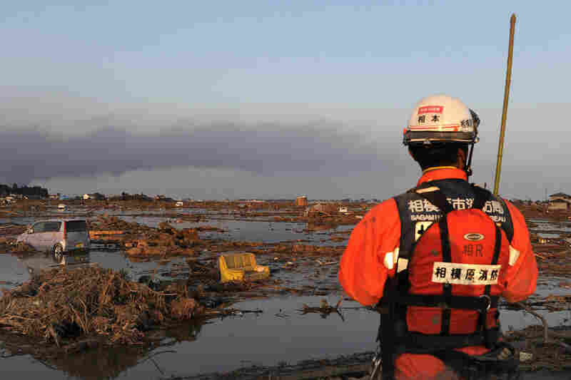 A Japanese rescuer looks at land devastated by the tsunami in Sendai.