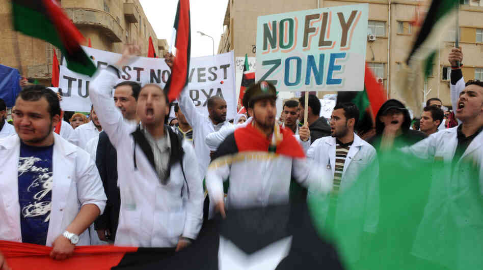 Libyan protesters demonstrate in the rebel-controlled eastern town of Benghazi on March 13, 2011.