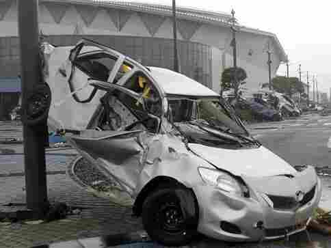 Toyota wrecked by tsunami