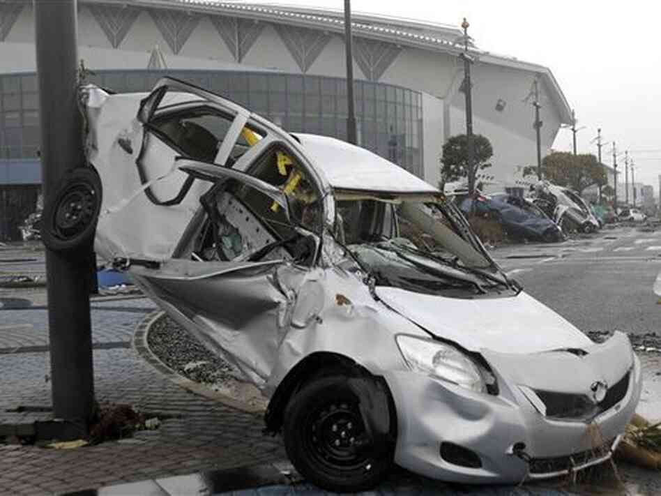Toyota wrecked by tsunami