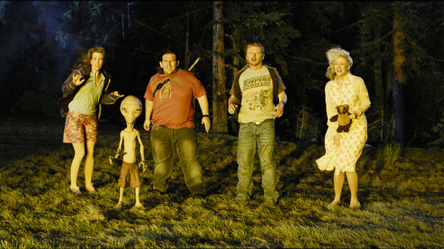 Immigrants, meet alien: Sci-fi enthusiasts Clive (Nick Frost, center-left) and Graeme (Simon Pegg, center-right) encounter an extraterrestrial hitchhiker (voice of Seth Rogen) and a few other surprising personalities in the new comedy Paul.