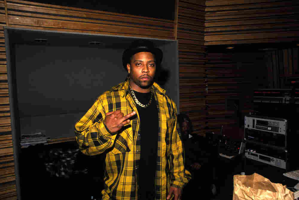 That's his ring finger: Nate Dogg in the studio during the recording of Snoop Dogg's Doggy Style,  in Los Angeles, California on April 12, 1993.