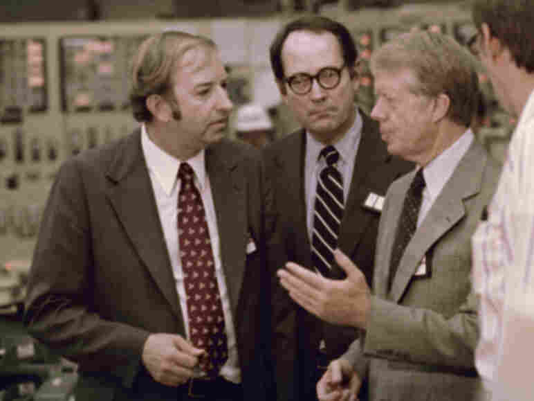 U.S. President Jimmy Carter (from right) meets April 1, 1979, with Pennsylvania Gov. Dick Thornburgh and Nuclear Regulatory Commission official Harold Denton in the control room of the Three Mile Island nuclear plant in Middletown, Pa.