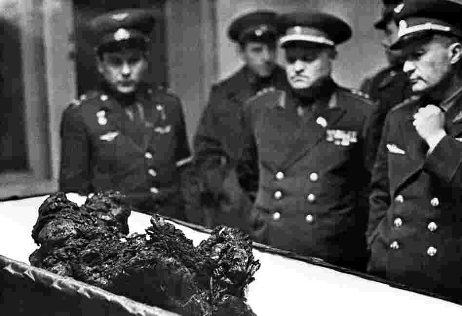 Vladimir Komarov's remains in an open casket