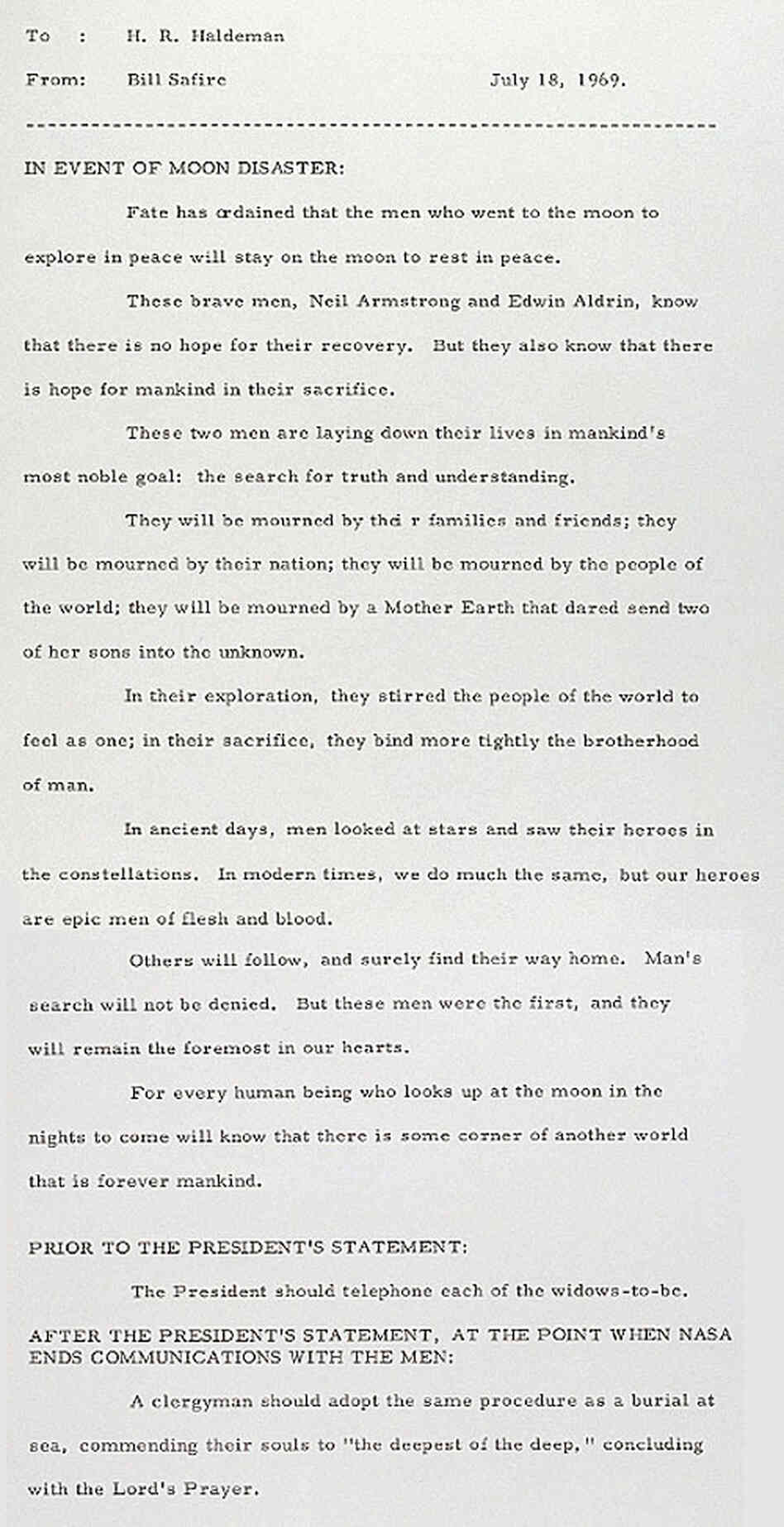 The Nixon White House prepared this letter in the event that American  astronauts did not survive the Apollo 11 mission.