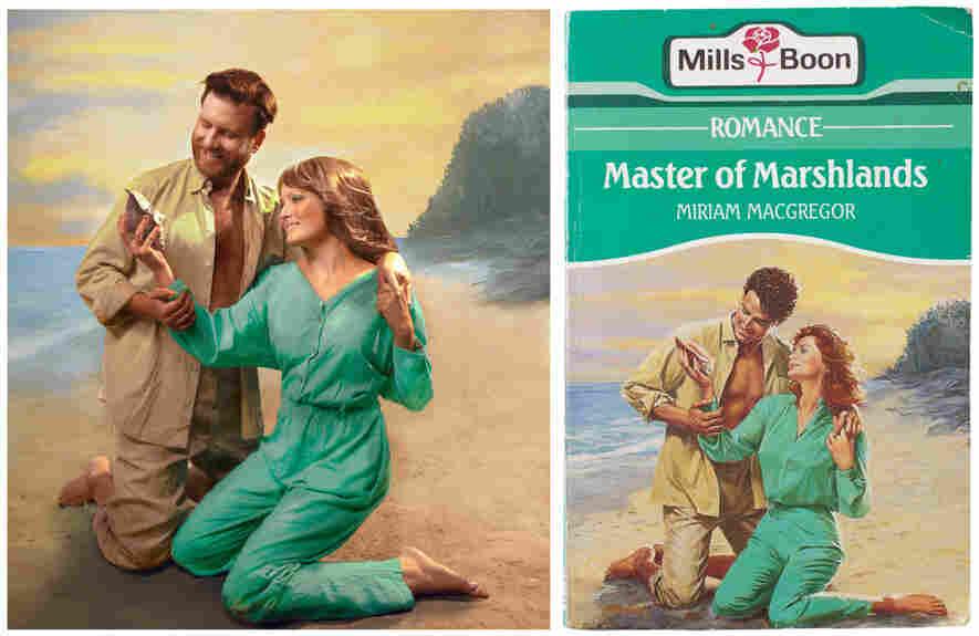 A couple re-creates romance book covers
