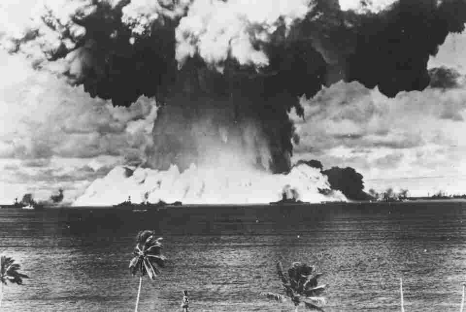 A mushroom cloud rises from the waters of Bikini Lagoon during the first series of underwater atomic tests in August 1946.