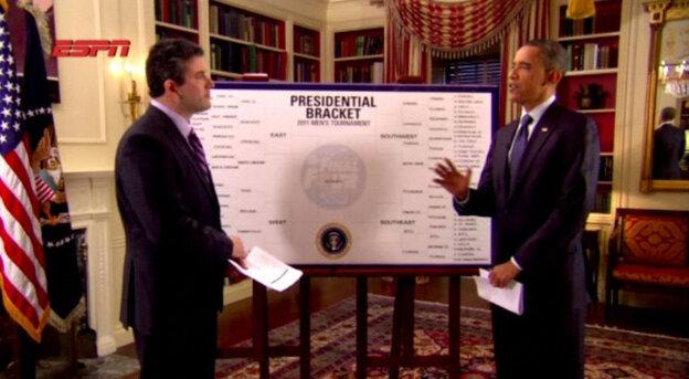 Screenshot of President Obama on ESPN choosing his NCAA brackets.