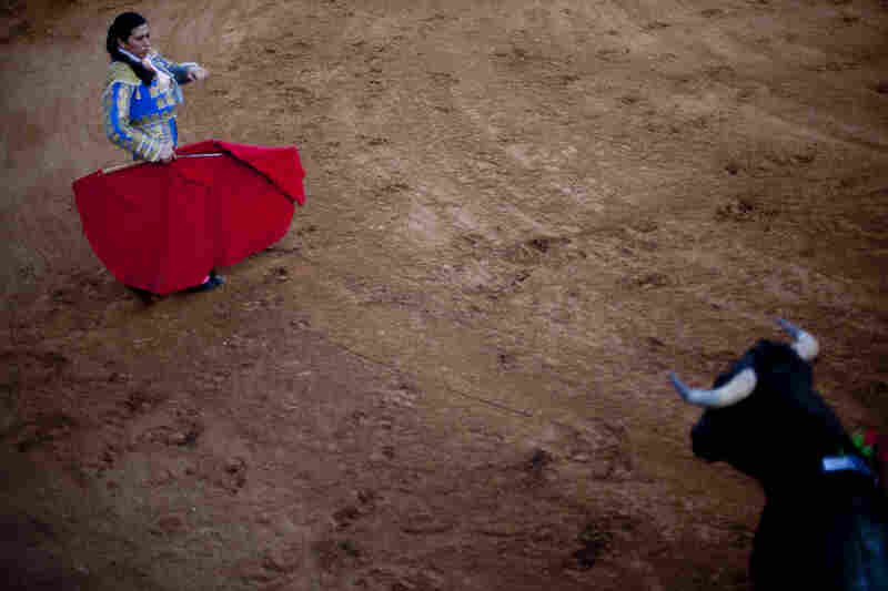 Lopez fights a bull at the Santa Maria Bull Ring in La Gloria, Texas.