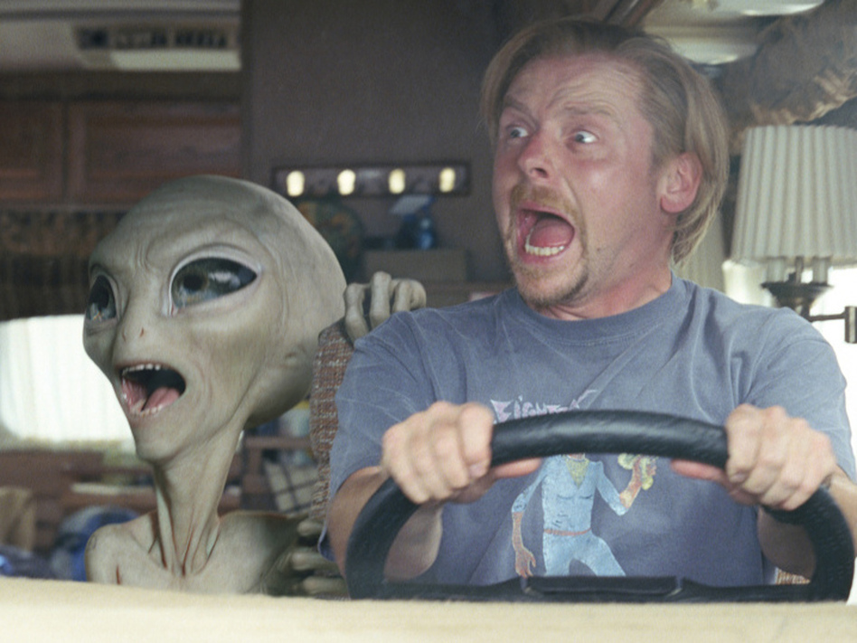 Comic book nerd Graeme Willy (Simon Pegg) encounters an alien (voiced by Seth Rogen) after traveling to America for Comic-Con. (Double Negative/Universal Pictures)