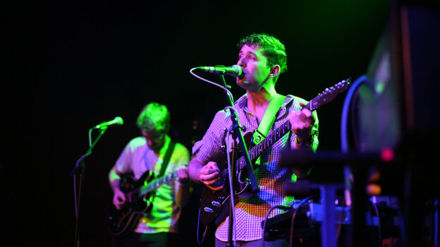 Peter Silberman (right) and Tim Mislock of The Antlers perform at The Parish in Austin, Texas.