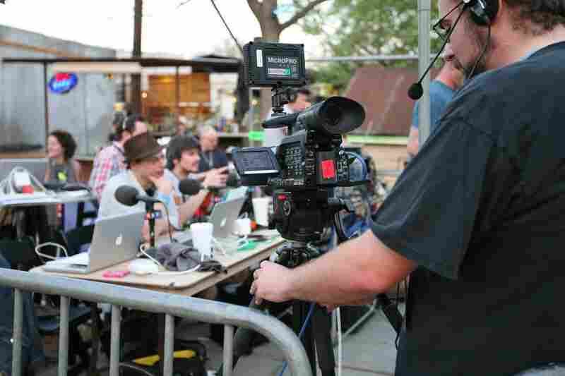Behind the scenes as NPR Music sets up for the video webcast from Stubb's BBQ.