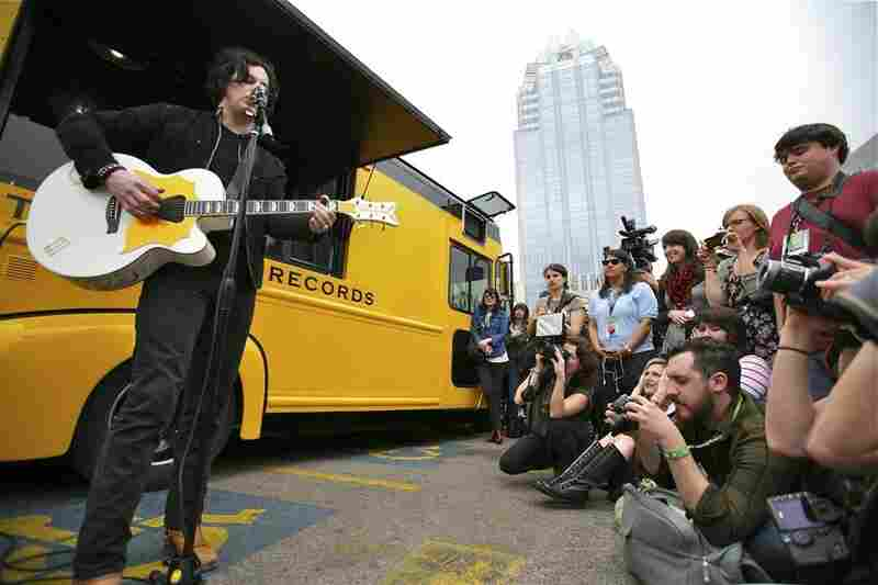 Jack White brought the Third Man Records Rolling Record Store on its maiden voyage to Austin. To celebrate the event, he performed one song by Texas native Buddy Holly and one by his old band, The White Stripes.