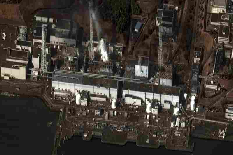 A satellite photo shows the damage after at the Fukushima Daiichi nuclear power plant.