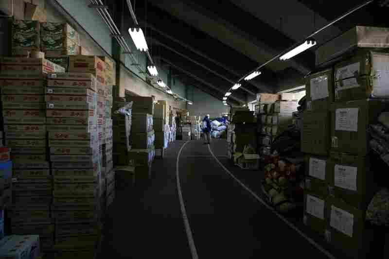 Relief supplies sent from around Japan are piled up in Koriyama, Fukushima prefecture.