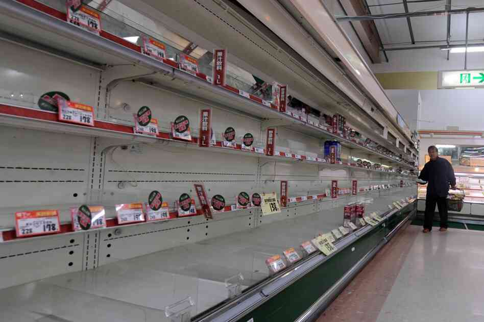 Food and supplies are scarce in supermarkets like this one in Hiraizumi in Iwate prefecture.