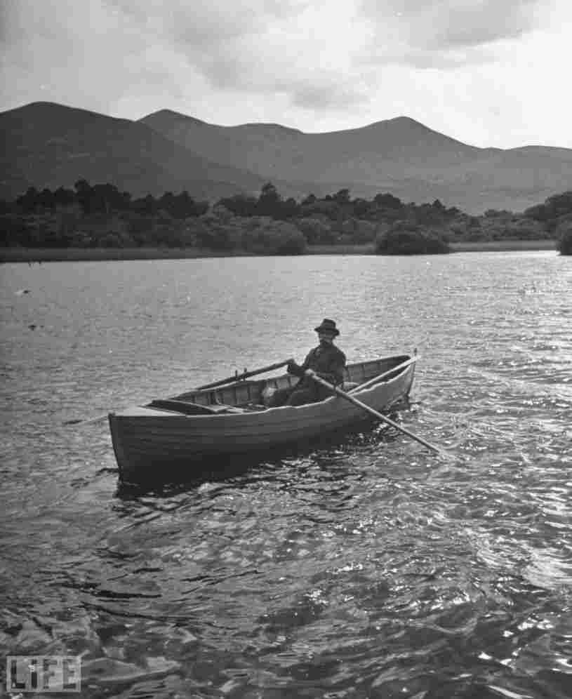 A boatman on the moors of Ross Castle, 1946