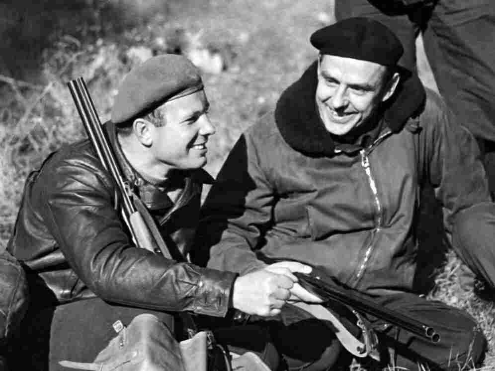 Gagarin (left)  and Komarov out hunting