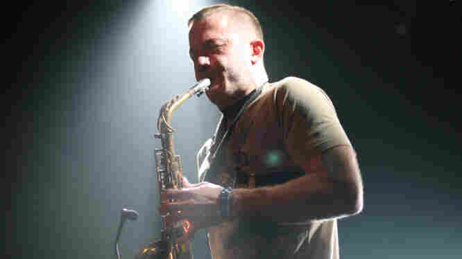 Colin Stetson performs at the Parish in Austin, Texas.