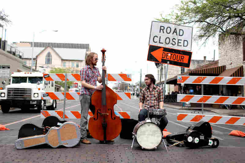 Not an uncommon sight: A band sets up on the streets of Austin.