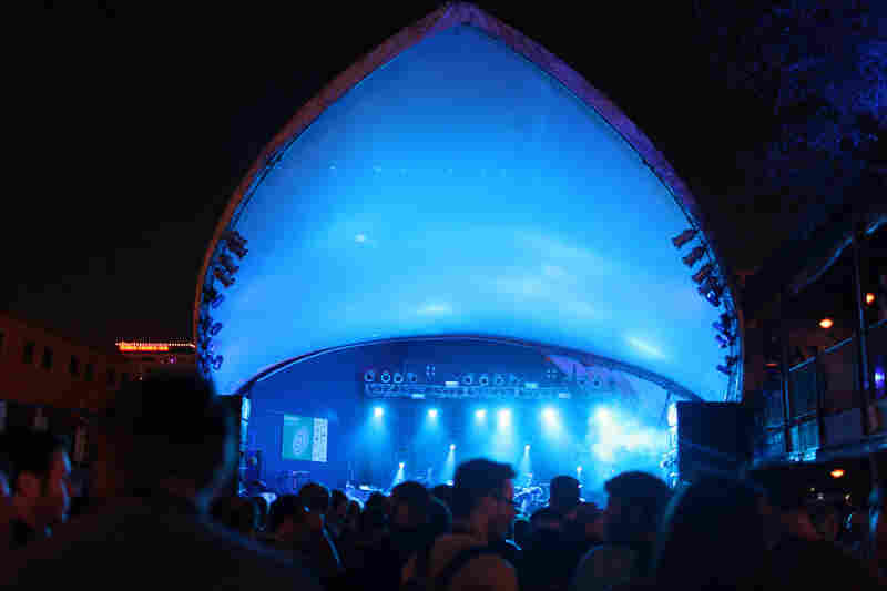 The blue glowing bowl of the Stubb's stage during James Blake's set.