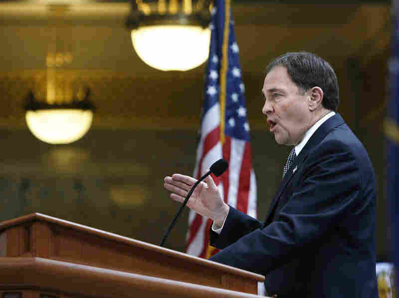Gov. Gary R. Herbert recently signed four immigration bills that bring sweeping changes to his state's laws. Here, Herbert speaks after his inauguration in January.