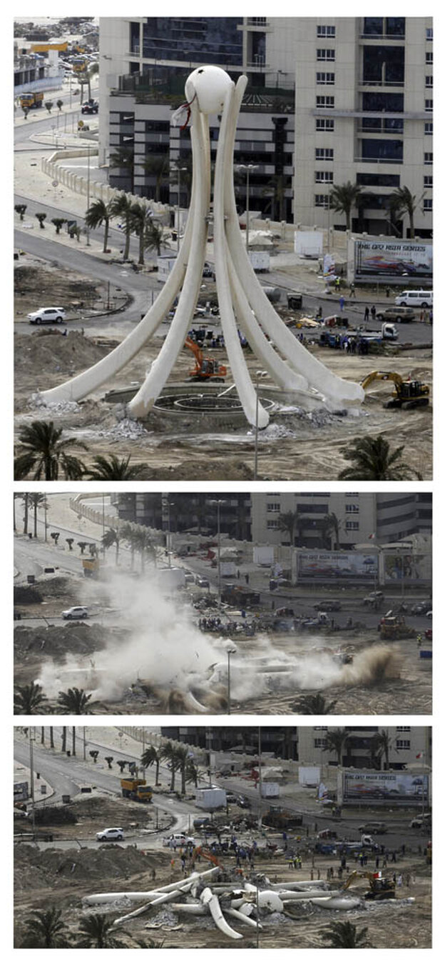 A combination of pictures show the statue in the centre of Pearl Square being torn down in Manama.