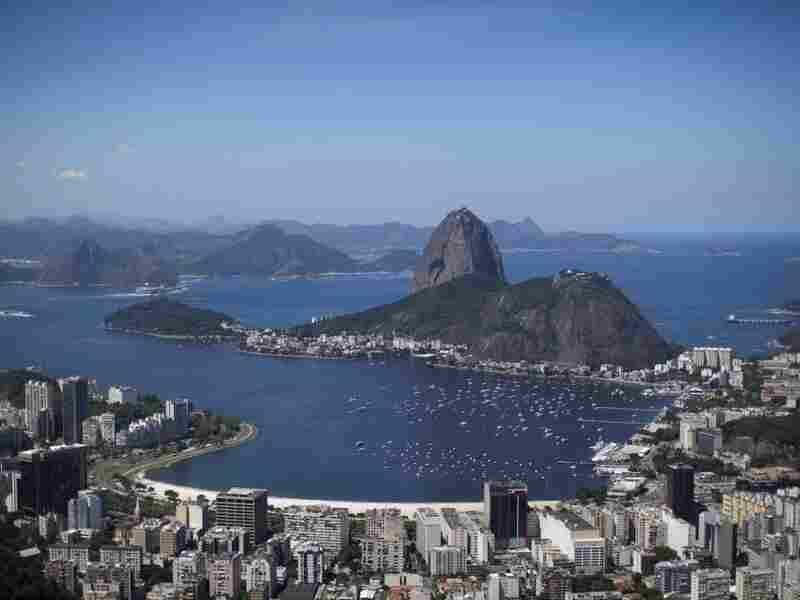 Sugarloaf Mountain rises out of Guanabara Bay in Rio de Janeiro, Brazil.