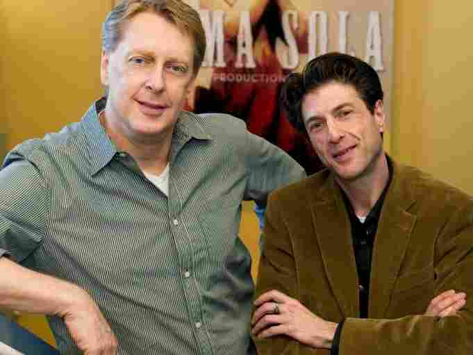 """Mark Olsen (left) and Will Scheffer say they're now going through withdrawal symptoms after the end of their HBO drama Big Love. """"I didn't know how hard it was going to be to wrap it up,"""" says Scheffer. """"I was crying nonstop."""""""