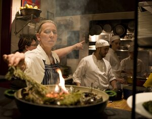 Gabrielle Hamilton in the kitchen of Prune. She opened the 30-seat East Village bistro in 1999, after traveling — and cooking — through France, Italy and Greece.