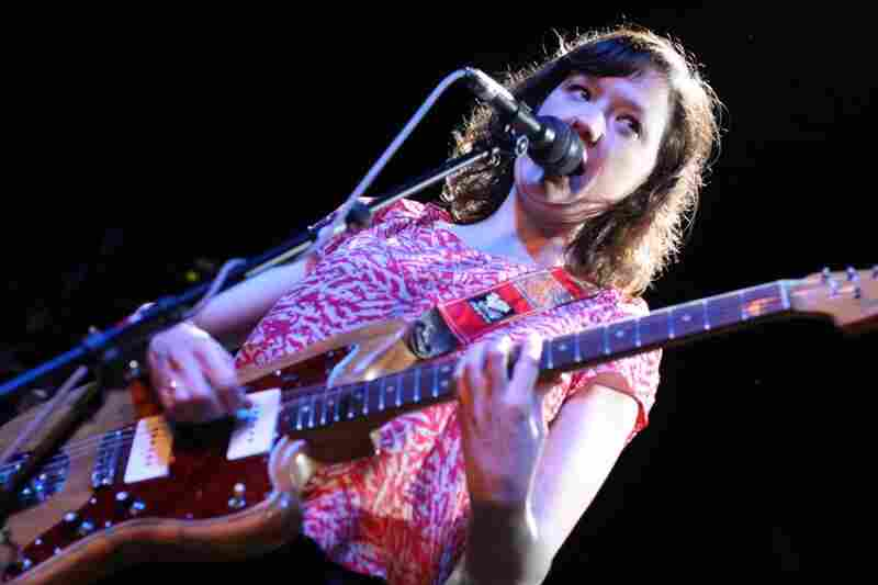 Mary Timony's psychedelic tendacies were on full display at The Parish during WILD FLAG's concert. That guitar is only moments away from flying over the top of her head.