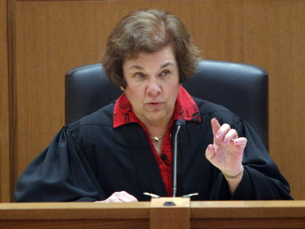 Judge Maryann Sumi at a hearing on Wisconsin's new collective bargaining law, Friday, March 18, 2011.